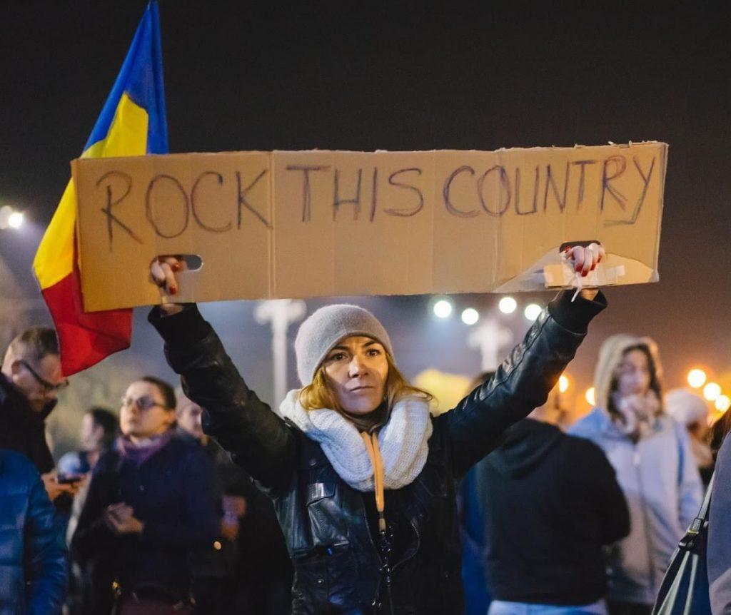 Oana Bizgan at anti-government protest, November 2015. Photo Denis Malciu
